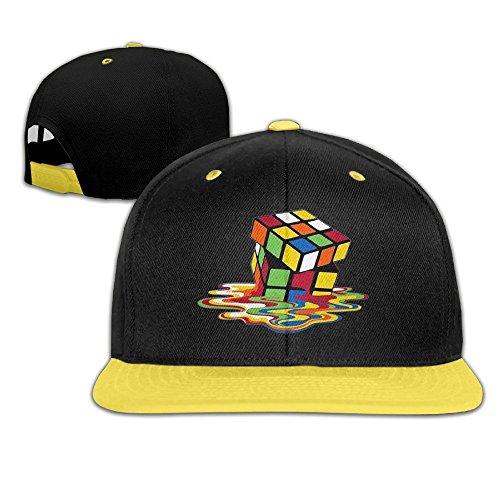 Kids Rubiks Cube Costumes (WYUZHEN Kid's Melting Rubik's Cube Hip-hop Snapback Hat Caps Yellow)