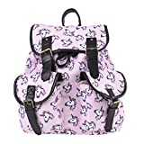 Monique Girls Women Unicorn Print Oxford Drawstring Backpack Students Schoolbag Casual Daypack Shoulder Bag Purple