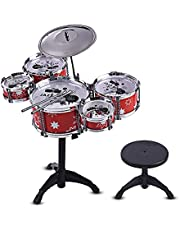 Children Kids Jazz Drum Set Kit Musical Educational Instrument Toy 5 Drums + 1 Cymbal Small Stool Drum Sticks for Boys Girls (Color : Red)