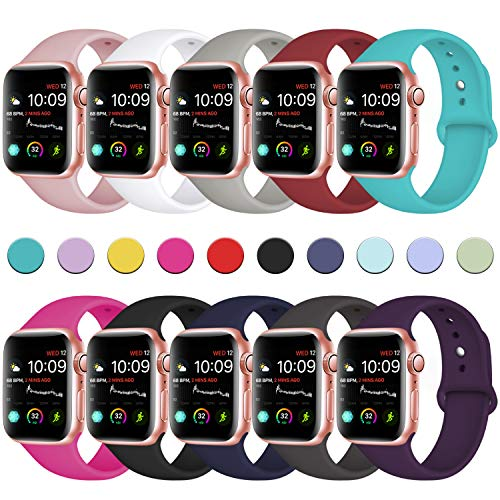 DaQin Bands Compatible with Apple Watch Band 40mm 38mm, 10 Pack Soft Silicone Sport Replacement Wristbands Strap for iWatch Series 4, Series 3/2/1, S/M