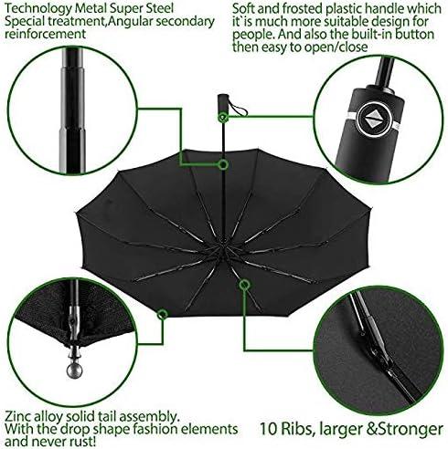 HM2 Windproof Travel Folding Umbrella Wind Resistant Folding Automatic Umbrella Rain Women Auto Luxury Big Windproof Umbrellas Rain for Men Black Coating Parasol