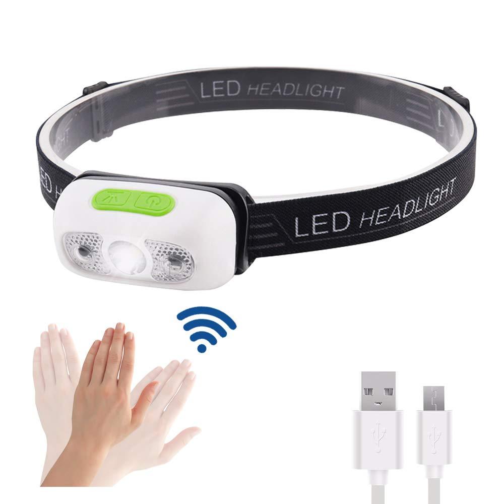 EZfull LED Stirnlampe Kopflampe mit Geste Sensor Funktion USB Wasserdicht...