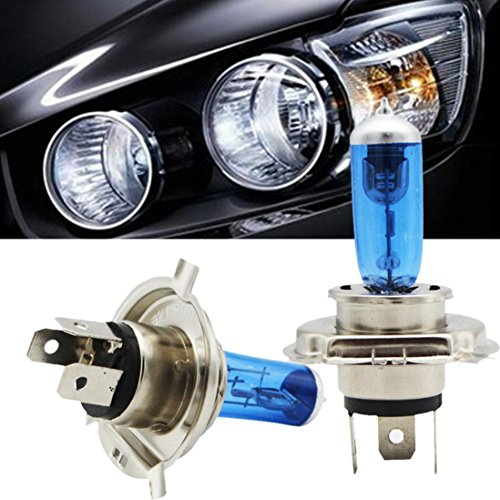 Danni 2pcs H4 55W Halogen Light Bright White Car Headlight Bulbs Bulb Lamp 12V 5000K (Standard Wattage 55w Bulb)