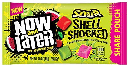 Chewy Fruit Sours - Now & Later Sour Shell Shocked Fruit Chewy Bites Candy, 3.5 Ounce Bag, Pack of 18
