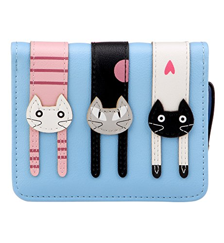 Tom Clovers Womens Girls Cute Short Bifold Three Cats Leather Wallet Purse Coin Purse With Zipper Clutch Card Holder Organizer Ladies Purse Light Blue