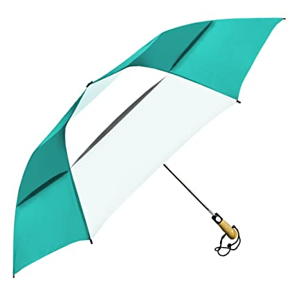 2912bd0dc96a StrombergBrand Stromberg Brand The Vented Little Giant Folding Golf  Umbrella Teal Blue/White