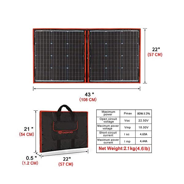 51QtXj4mjIL Dokio 80 Watt Solartasche Faltbares Mobiles Solar-Panel Mit Effektivsten Monokristallinen Zellen,Solar-Laderegler(2 Usb…