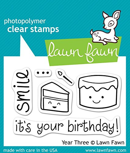 [Lawn Fawn Photo-polymer Clear Stamp Set It's Your Birthday Smile Year 3 Cake LF454] (Postage Stamp Costume)