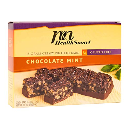HealthSmart - High Protein Diet Bars - Crispy Chocolate Mint - 15g Protein - Low Calorie - Low Fat - Gluten Free (7/Box)