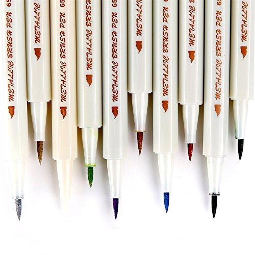 PuTwo Metallic Marker Pens, Set of 10 For Birthday Greeting Gift Thank You Card, DIY Photo Album, Rock Art Painting, Brush Tip