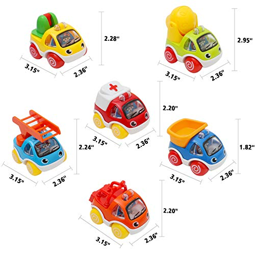 OKPOW Toy Cars for Kids, Pull Back Cars Push and GO Cars Toys for Toddlers 1 Year and Up Baby Construction Team Vehicles Set Toy Helicopter for Toddlers Birthday (6pcs Construction Cars)