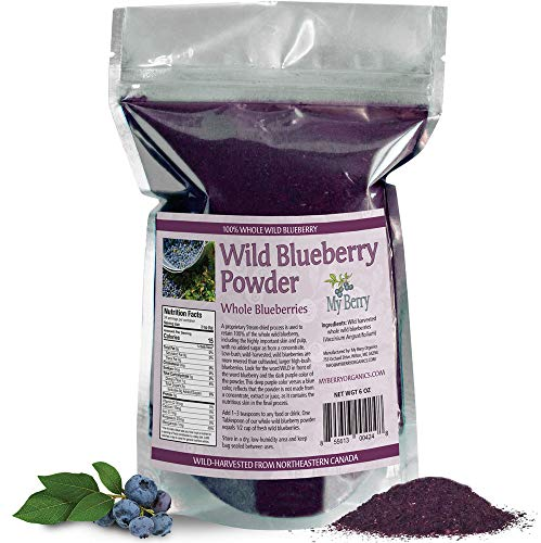 (Wild Blueberry Powder-100% Whole Berry; No Pesticides, 6oz, Not A Concentrate, Extract, Juice Powder, Freeze-Dried, Nor A Bilberry)