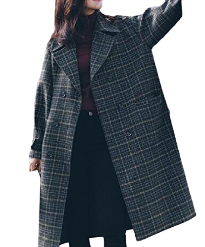 Double Breasted Plaid Coat - 3