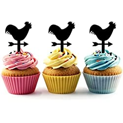 TA0566 Farm Rooster Weathervane Silhouette Party Wedding Birthday Acrylic Cupcake Toppers Decor 10 pcs