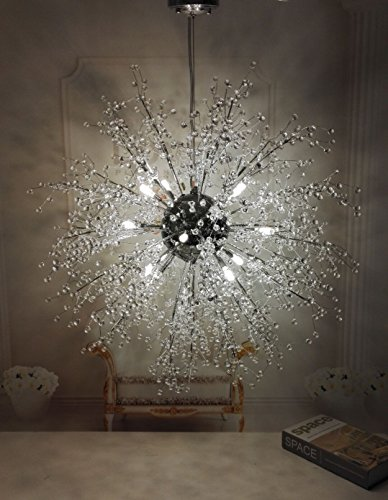 Review GDNS Chandeliers Firework LED Light Stainless Steel Crystal Pendant Lighting Ceiling Light Fixtures Chandeliers Lighting,Dia 27.5 Inch