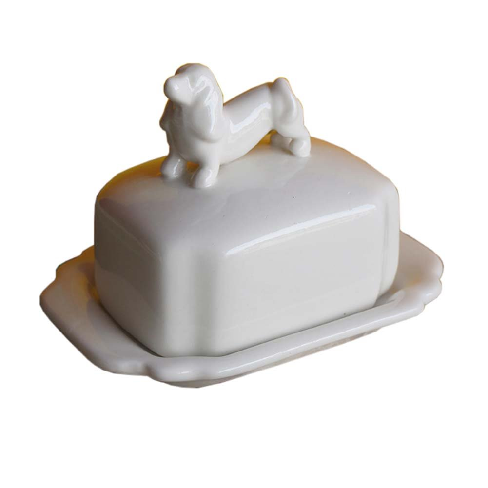 Creative Design Porcelain Butter Dish Decorative Butter Keeper with Animal Lid Cover, Dog