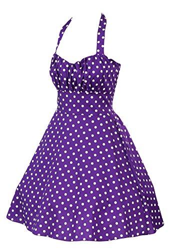 Sidecca Retro 1950s Large Polka Dot Halter Swing Dress-Purple-Large
