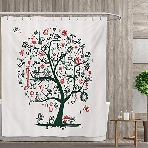 smallfly Christmas Bathroom Accessories Large Tree with New Year Ornaments Presents and Candles Angels Holiday Theme Shower Curtains Fabric Extra Long 72