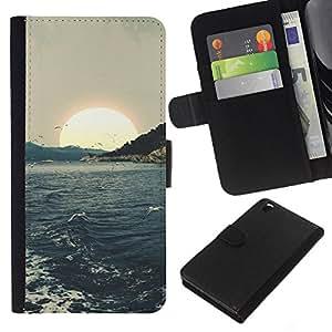 KingStore / Leather Etui en cuir / HTC DESIRE 816 / Waves Sunset mer Mouettes