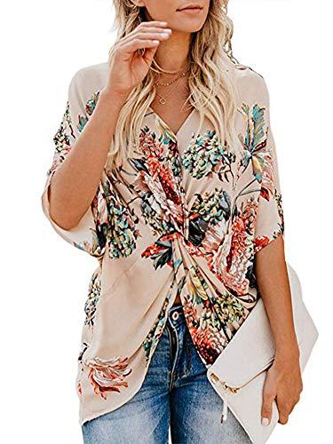 Womens Floral Print Chiffon Shirt V-neck Twist Irregular Casual Short Sleeves Blouses Top(Apricot,L)