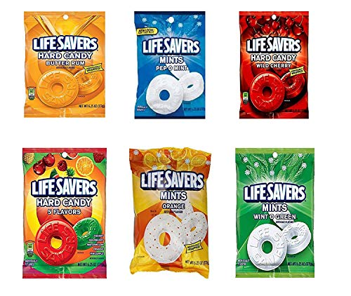 Life Savers Hard Candy, Individually Wrapped, Variety Pack - Butter Rum, Pep O Mint, Wild Cherry, 5 Flavors, Orange, Wint O Green, 6.25oz each bag (Pack of 6)]()