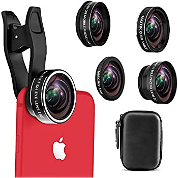 Cell Phone Camera Lens, 5 in 1 iPhone Camera Lens Kit with Fisheye Lens+15X Macro Lens+ 0.6X Wide Angle Lens+ 2X Telephoto lens and CPL Lens Clip On Lenses for iPhone 8/7/6/5/4 and Samsung Smartphone