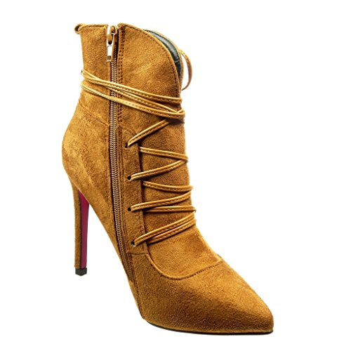 Talon noeud Chaussure sexy haut Mode femme aiguille lacets Bottine 9 5 CM stiletto Angkorly 81Ygxng
