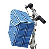 Front Canvas Bike Basket, VEY Handlebar Storage Folding Basket Carrier Solid Bucket with Cover 10L