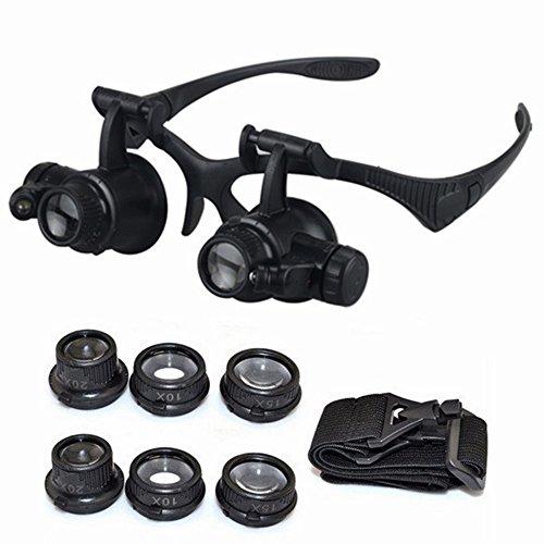 Peralng® Kopfbandlupe Lupenbrille elektronische Reparatur Werkzeug Vergrößerungsglas für Juwelier und Uhrenmacher 10x 15x 20x 25x Kopfbandlupe mit 2LED Lampen schwarz