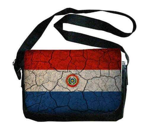 Paraguay Flag Crackled Design Messenger Bag