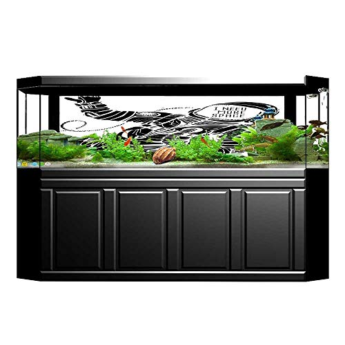 JiahongPan Aquarium Background Motivation Calligraphy with Astronaut in The Costume Gravity Black White Wallpaper Fish Tank Backdrop Static Cling L23.6 x -