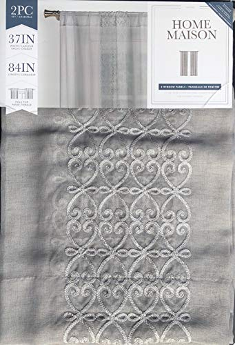 Home Maison Window Panels Draperies Pole Top Sheer Curtains Set of 2 Light Gray Embroidered Geometric Pattern with Silver Highlights on Medium Gray, Naomi - 38 Inches by 84 Inches ()