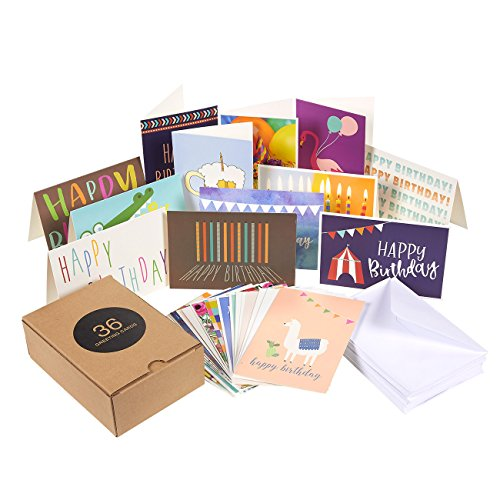 Birthday Card - 36-Pack Birthday Cards Box Set, Happy Birthday Cards - Unique Assorted Designs Blank on the Inside Birthday Card Bulk, Envelopes Included, 4 x 6 ()