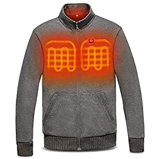 day wolf Heated Jacket Electric Warm Winter Fleece, 3 Heating Zone, 5V 5200mAh Battery for Men Women (USB 5V, L)