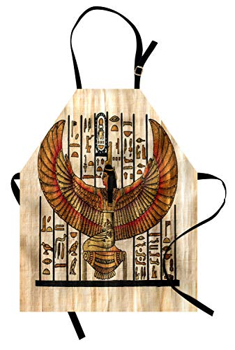 Lunarable Egyptian Apron, Ancient Oriental Historical Art Egyptian Parchment Texture Background, Unisex Kitchen Bib Apron with Adjustable Neck for Cooking Baking Gardening, Vermilion Beige Black