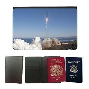 Passeport Voyage Couverture Protector // M00291762 De lanzamiento de cohetes Spacex // Universal passport leather cover