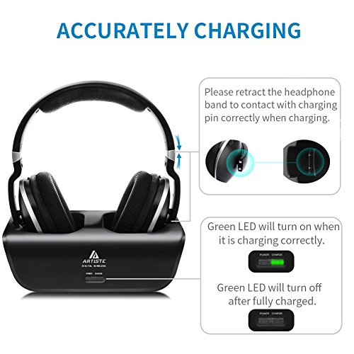 Wireless Headphones for TV Watching with Optical, ARTISTE ADH300 2.4GHz Digital Wireless TV Headphones, 100ft Distance Rechargeable for TV/PC/Phone (Black with Optical) by ARTISTE (Image #6)