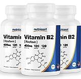 Nutricost Vitamin B2 (Riboflavin) 400mg, 120 Capsules (3 Bottles)