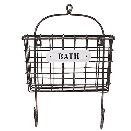 NIKKY HOME Vintage Metal Mesh Wall Mounted Bin with Hooks for Bath Room 9 x 5.87 x 13 ()
