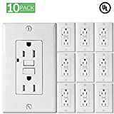 10 Pack- UL Listed GFCI Outlet Receptacle 15-Amp (Tamper-Resistant) Duplex 125-Volt, LED Indicator, Safe Lock Protection -Compliant with Highest Safety Requirements, Wall Plate Included