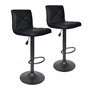 Black 2 PU Leather Modern Adjustable Swivel Barstools Hydraulic Chair Bar Stools  sc 1 st  Amazon.com & Amazon.com: Black 2 PU Leather Modern Adjustable Swivel Barstools ... islam-shia.org