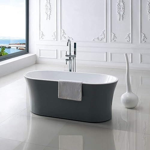 CRW Bathroom Luxury Acrylic Freestanding Bathtub Oval Contemporary Soaking SPA Bathtub