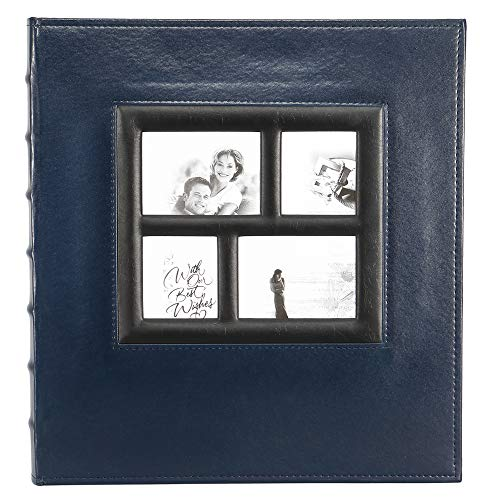 Magnetic Self-Stick Page Photo Album, Family Album Self Adhesive Large Leather Cover Photo Albums with 30 Sheets / 60 Sticky Pages, Holds 3x5, 4x6, 5x7, 6x8, 8x10 Photos (Blue)