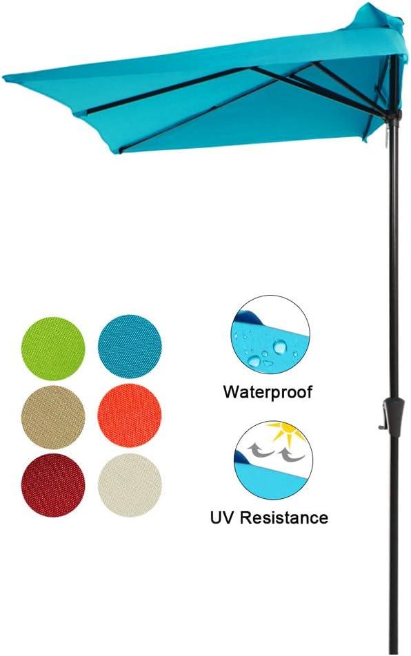 COBANA 7.5'by 4'Half Rectangular Outdoor Patio Umbrella for Patio, Balcony, Garden, Deck, Blue