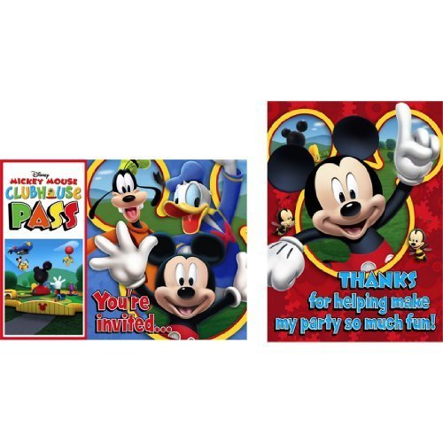 Disney Mickey Mouse Clubhouse Playtime Birthday Invitations and Thank You Notes - 8 each per (Disney Birthday Invitations)