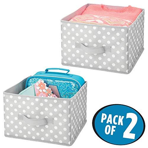 mDesign Juego de 2 cajas de almacenaje para ropa, juguetes, etc. - Cestas organizadoras con asas en fibra sintética de lunares - Organizador de armarios ...