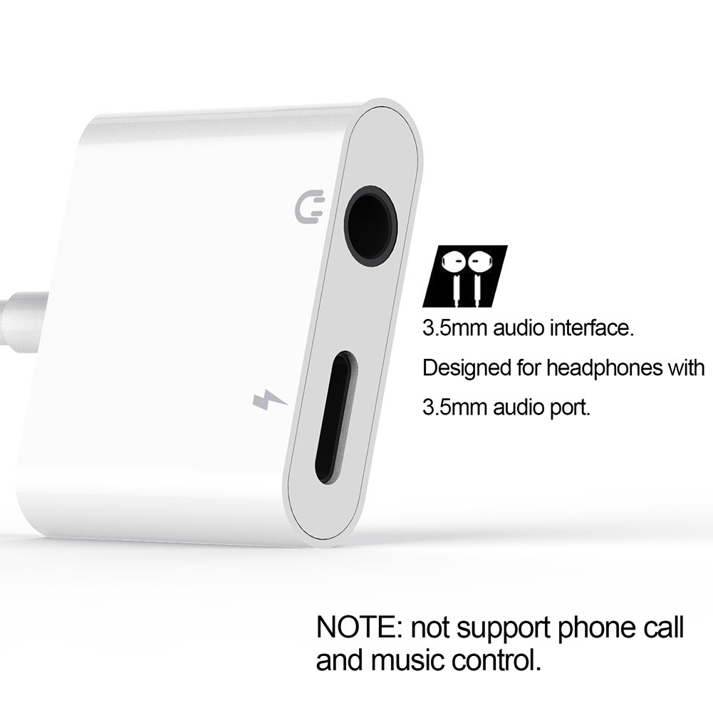 IPhone 8 Lightning Adapter Headphone Jack For 3.5mm Headphone Audio Adapter 2A Quick Charge Earphones Splitter - Compatible With IOS 11 (No Calling Feature Or Data Transfer Abilityi )phone dongle