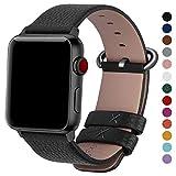 Fullmosa Compatible Apple Watch/iWatch Band 42mm 38mm,Genuine Leather Band Compatible Apple Watch Series 3 Series 2 Series1 Nike+ Hermes&Edition, 42mm Black+Gunmetal Buckle