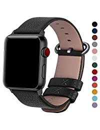 Fullmosa Compatible with Apple Watch Band 42mm 44mm Genuine Leather Strap/Band for Apple Watch/iWatch Series 4 Series 3 Series 2 Series1 Nike+ Hermes&Edition Men and Women, 42mm 44mm Black+Gunmetal Buckle