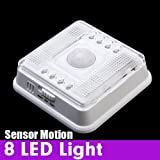 White Auto 8 LED Light PIR Sensor Motion Detector Wireless Infrared Indoor by 24/7 store